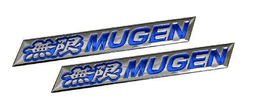 2 x (pair/set) Mugen Embossed BLUE on Highly Polished Silver Real Aluminum Auto Emblem Badge Nameplate for Honda Acura Civic Fit Prelude Integra RSX Accord Si RSX GSR TSX CL TL GSR LS EK9 EK EG Type-R S JDM other models (Integra Emblem For Rsx compare prices)