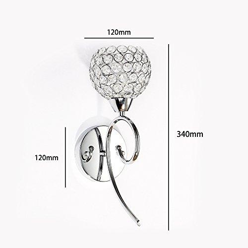 Argent Cristal Applique AC 220V, Culot E14, Décoration Applique Luminaire Cristaux Clairs Lampe