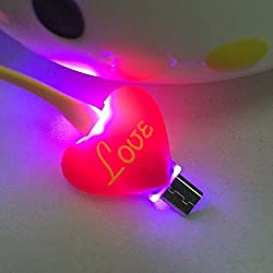 Aeoss LED Light Micro USB Charger Data Sync Fancy Color Cute Cartoon Character for Samsung htc Xiaomi