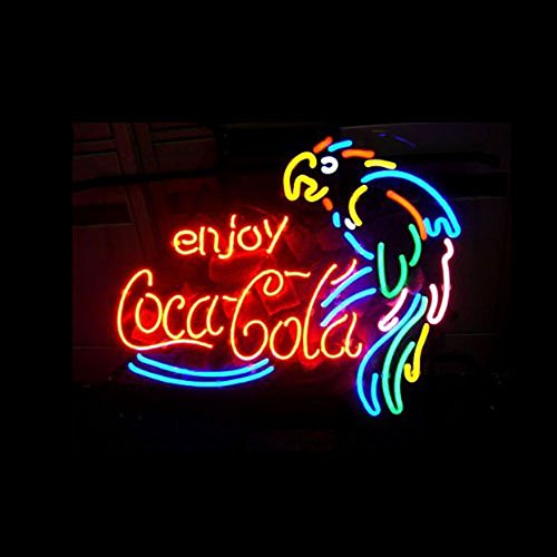 ENJOY COCA COLA PARROT Real Glass Neon Light