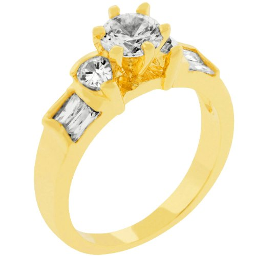 2.0 Carat (ct, cttw, ctw) Three Stone Pear & Round Cut 14k Gold Plate Cubic Zirconia CZ Anniversary Ring (Size 5,6,7,8,9,10)