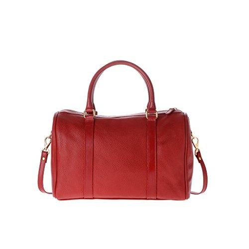 Borsa donna bauletto di pelle dollaro grande made in Italy con tracolla 2 manici DUDU Rosso lacca