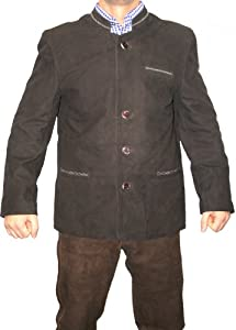 German Wear Trachten Bavarian Jacket Goat Suede Leather Dark Brown