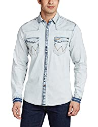 Wrangler Men's Casual Shirt (8907222640361_W1479764002A_Large_Ice Blue)