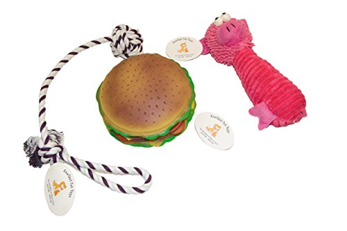Everlast Pet Toys | Best Chew & Squeak Bundle for Dogs | Cheeseburger | Knotted Ball Tug Pull Rope | Guaranteed | Plush Doll | Top Rated – #1 Seller | For Large, Medium & Small Breeds of All Ages