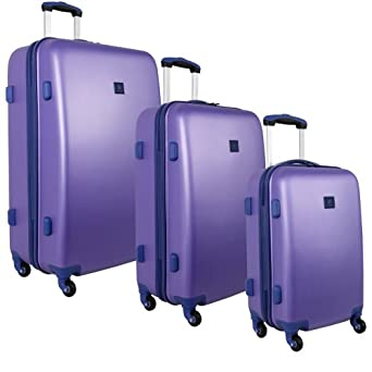 Anne Klein Luggage Fast Lane 3 Piece Hardside Luggage Set, Aqua/Violet, One Size