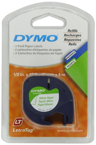 Dymo 10697 Self-Adhesive Paper Tape For Letratag Label Makers, 1/2-Inch, White, 13-Foot Roll, 2-Pack