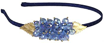LibbySue-Hand-made Headband with a Shimmery Bouquet of Ice Blue Colored, Faceted Crystal Beads with Brushed Gold Leaves Perfect for the Wedding Prom Season