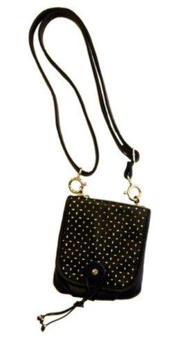 Tokyobay Ladies Vegan Leather Metro Perforated Front Flap Cross Body Handbag (Black)
