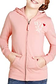 Pure Cotton Zip Through Hooded Sweat Top [T74-1870V-S]