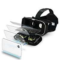 "VR Headset Glasses Virtual Reality Mobile Phone 3D Movies for iPhone 6s/6 plus/6/5s/5c/5 Samsung Galaxy s5/s6/note4/note5 and Other 4.7""-6.0"" Cellphones (one pack) from Jasmonic"
