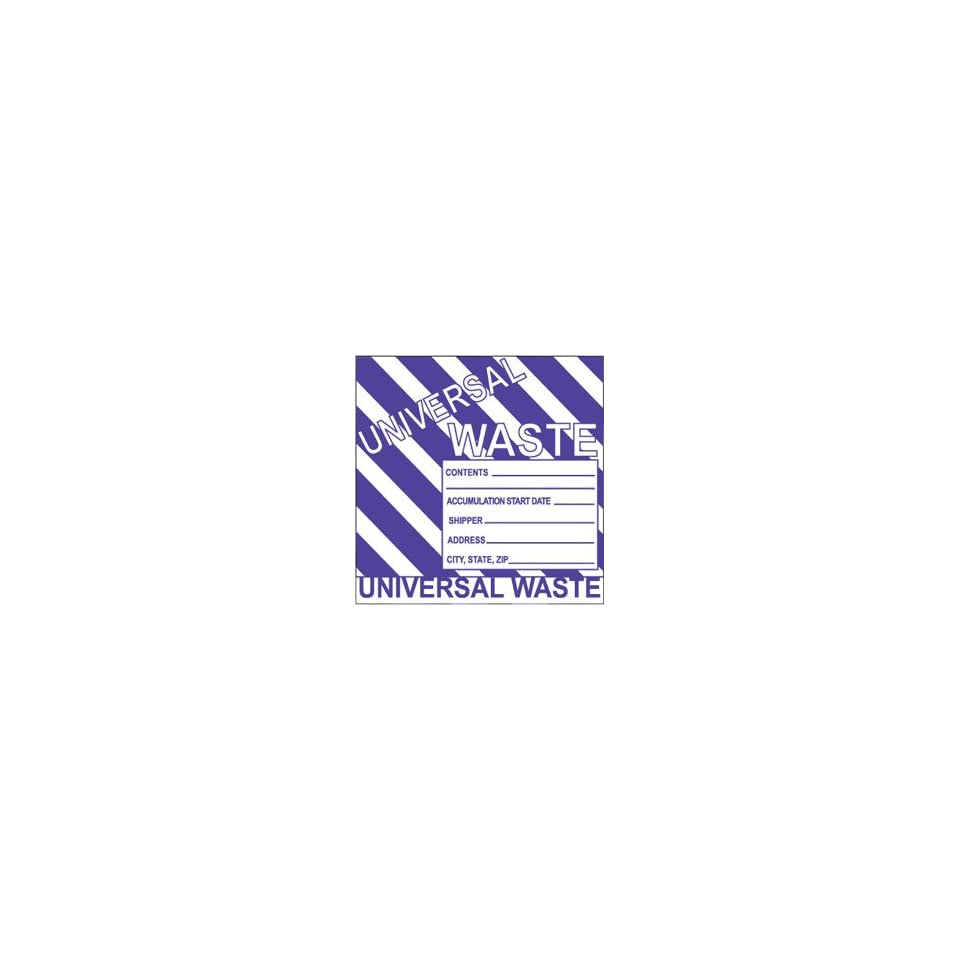 NMC HW31ALV Hazardous Waste Container Label 6 Length x 6 Height 500 per Roll LegendUniversal Waste Adhesive Paper