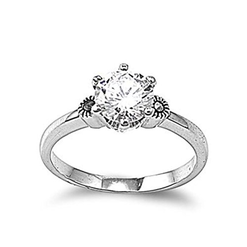 Rhodium Plated Brass Thin Plain Band Ring With Round Clear Cz Stone - Size6