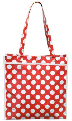 Red and White Polka Dot Tote Bag