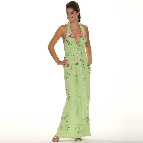 Formal Evening Gown. Lime Halter Beaded Dress for Prom, by Sean Collection (1980 L)