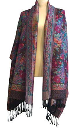 Ladies Pashmina Scarf Stole Shawl Wrap.Patterned Mosaic Floral Design, Warm and Luxurious