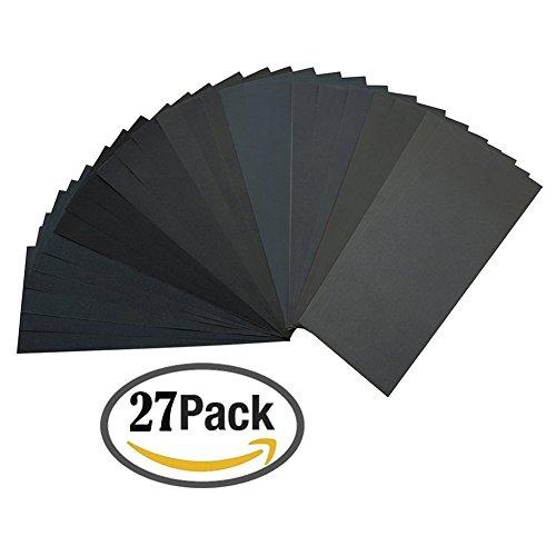 ZesGood Pack of 27 Sandpaper Abrasive Dry/Wet Paper Sheets 400/600/800/1000/1200/1500/2000/2500/3000 Grit 9