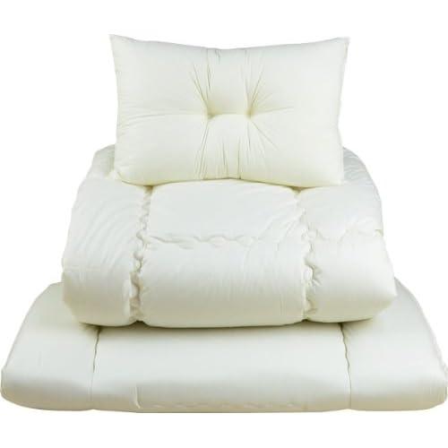 エムール 軽量布団3点セット 「ロココ」 シングルセット(掛け布団 敷き布団 枕) 防ダニ 抗菌 防臭 日本製