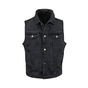 Men's Black Denim Jean Vest MV107 Black M