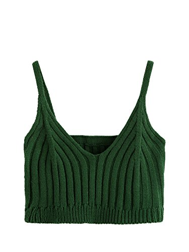 SweatyRocks Cami Top Knitted Crop Top Ribbed Spaghetti Strap Undershirt