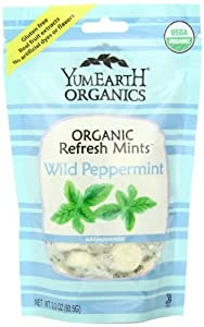 YummyEarth Organic Candy Drops, Wild Peppermint, 3.3-Ounce Bag (Pack of 6)