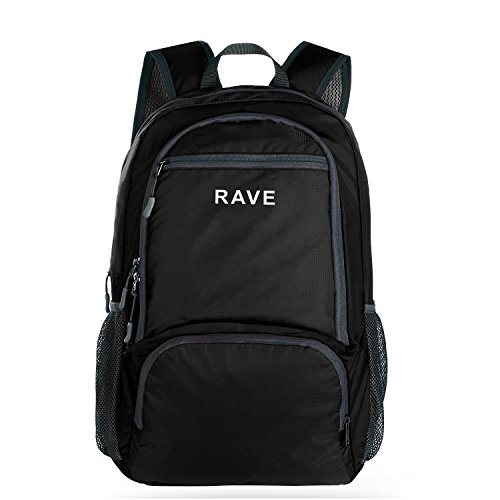 RAVE Packable Sports Backpack Camping Foldable Daypack Black Ultralight 30L