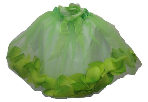 Youth Girl Lime Green Rose Petal Filled Dance Or Dress Up Tutu front-1081632