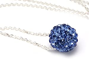 Authentic Sapphire Color Crystals Ball Pendant, Includes Sterling Silver Chain 18 Inches Rolo. Now At Our Lowest Price Ever but Only for a Limited Time!