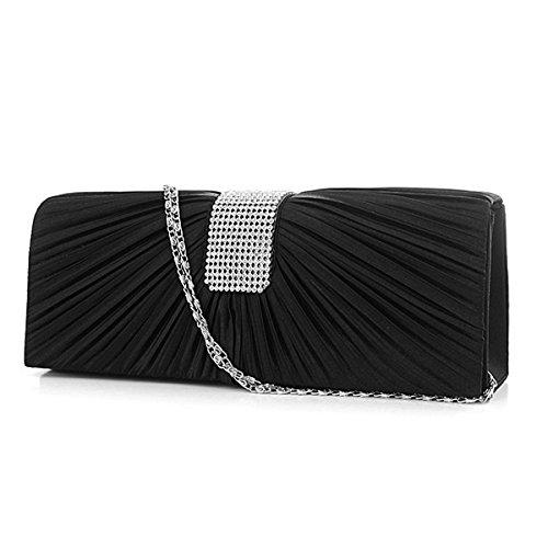 VORCOOL moda strass Decor Design anteriore da sposa sera pochette borsetta Tote spalla borsa donna a pieghe