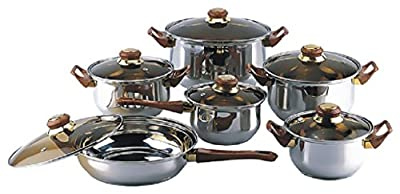 18/10 Stainless Steel Gourmet Chef 12 piece Covered Cookware Set Pots Pans Lids