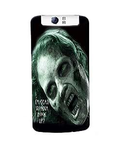 Fuson Scary Girl Back Case Cover for OPPO N1 - D3796