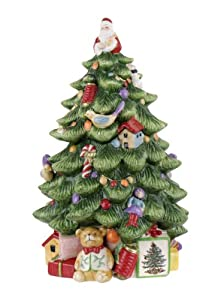 #!Cheap Spode Christmas Tree Sculpted Christmas Tree Shaped Covered Cookie Jar, 15-Inch