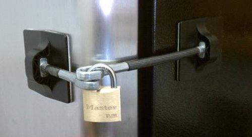 Computer Security Products Refrigerator Door Lock with Padlock Black Brand New