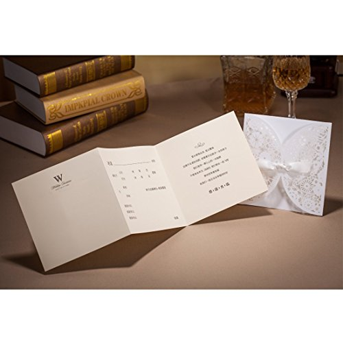 Wishmade 50x Laser Cut Trifold Lace Sleeve Wedding Invitations Cards Kits for Wedding Engagement Bridal Shower Baby Shower Birthday Quinceanera Graduation Paper with Bow(set of 50pcs) 2