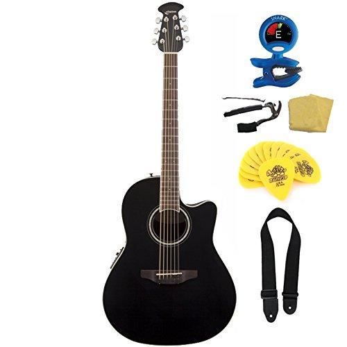 Ovation CS24-5 Celebrity Standard Mid-Depth Cutaway Acoustic-Electric Guitar Bundle - Black