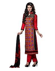 Varanga Red Embroidered Dress Material with Matching Dupatta KFCRI3602