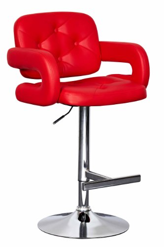 Red Leather Bar Stools with Arms