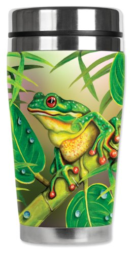 Mugzie® Brand 16-Ounce Travel Mug With Insulated Wetsuit Cover - Red Eyed Frog