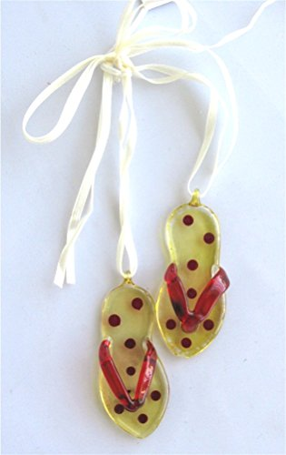 Glass Flip Flop Design Hanging Ornament - Yellow New front-696733