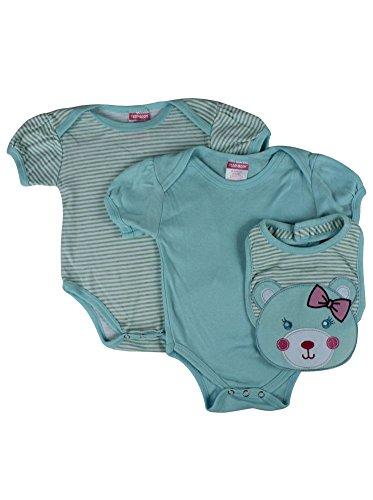 Alfa Global Baby Boy'S Newborn Two Bodisuits With Kitty Bib 3Pcs Set 0-3 Months front-798862