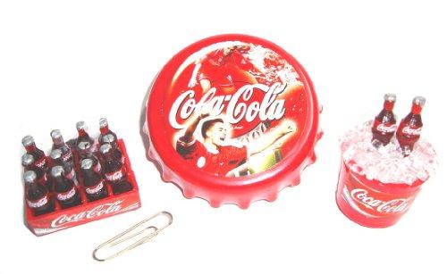 3 Pcs /Set Coca Cola Coke Cokei Collectables Barbie Dollhouse Miniature Fridge Magnet Icebucket Crate Bottlle Opener Refrigerator Magnet front-426125