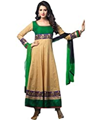 Suchi Fashion Beige And Green Cotton Embroidered Semi Stitched Suit