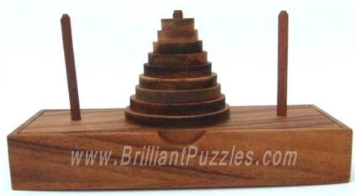 Picture of Fun Tower of Hanoi Wooden Brain Teaser Puzzle (B002P8PCEY) (Brain Teasers)