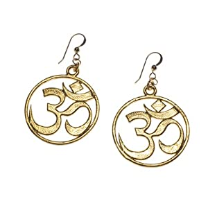 Om Gold-dipped Earrings on French Hooks