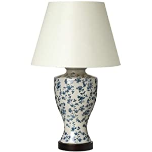 callisto blue roses on white ceramic table lamp ceramic lamps. Black Bedroom Furniture Sets. Home Design Ideas