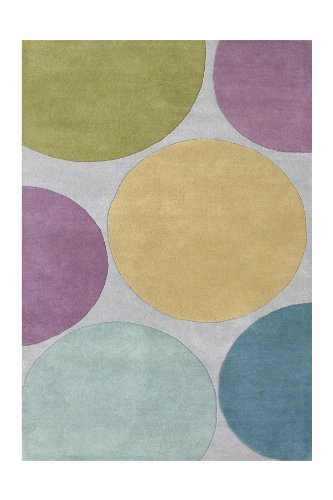 ZnZ Rugs Gallery, 16006_5x8, Hand Made Aqua New Zealand Blend Wool Rug, 1, Purple, Grey, Green, 5x8'
