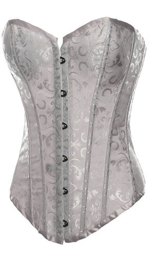Alivila.Y Fashion Sexy Tapestry Overbust Corset 2340 With G-String-White-XL/Bust:36-38inch Waist:30-32inch