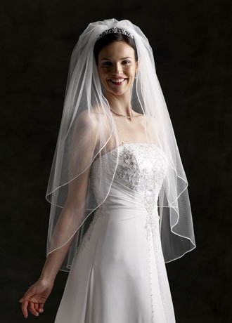 Bridal Wedding Veil with 2 Tier Fingertip