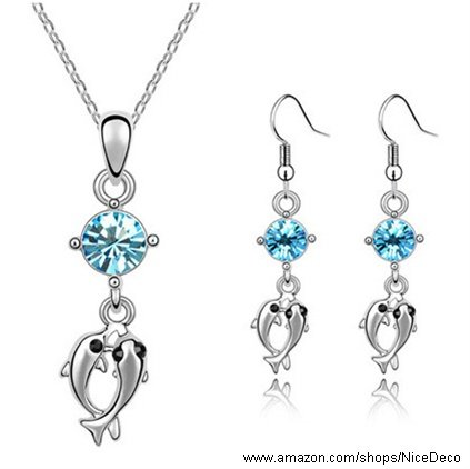 Nicedeco Je-Sw-Tz038-Seablue,Swarovski Elements Austrian Crystal Jewelry Sets,Dolphins Couples,Necklace And Earring(2-Piece Set),Elegant Style And Exquisite Craftsmanship