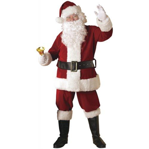 Velvet Xmas Santa Claus Clause Suit Costume Outfit +Wig Adult Standard (Jacket 40-48)